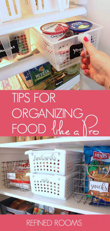 Learn to organize your food like a pro with these food storage organization tips from a professional organizer | #foodstorage #kitchenorganizing #kitchenorganization #foodorganization #foodorganizationtips #refrigeratororganizing #pantryorganizing #organizeandrefinechallenge #refinedrooms