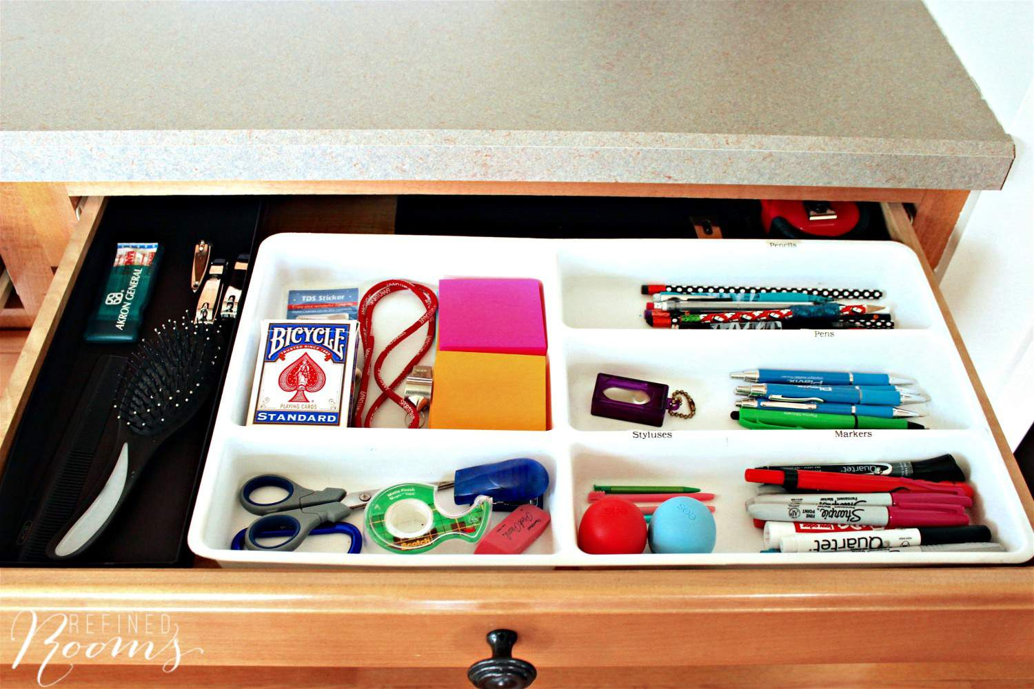 Follow this 5-step kitchen drawer organization process via Refined Rooms