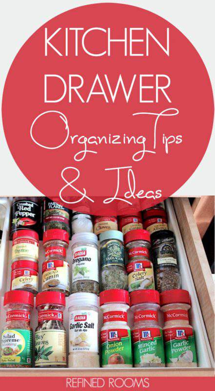 Got kitchen decluttering and organization on the brain? Get kitchen drawer organization tips, ideas, and a whole lot of inspiration! | #kitchendrawers #kitchendrawerorganizing #kitchendrawerorganization #kitchenorganizing #kitchenorganization #organizeandrefinechallenge #RefinedRooms
