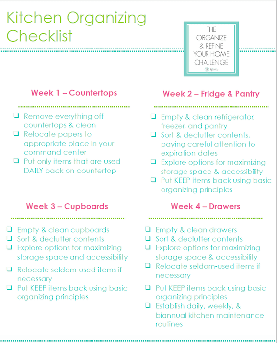 Tackle you kitchen countertop organization (and the rest of your kitchen!) with this Kitchen Organizing Checklist from Refined Rooms