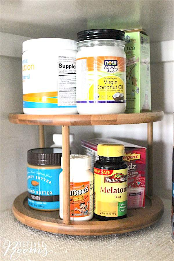 Food storage organization - use a lazy susan in the pantry via Refined Rooms
