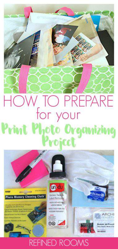Any print photo organization project requires prep work and planning to be successful. Learn how to tackle this prep work and planning from a professional photo organizer before you set off on your print photo organizing journey! | #photoorganizing #printphotoorganizing #photoorganization #printphotos #organizeandrefinechallenge #RefinedRooms