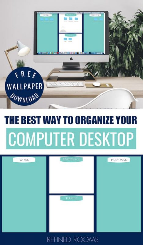 "home office with organized computer desktop - text overlay ""The Best Way to organize your computer desktop""."