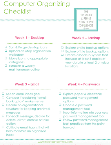 The Computer Organizing Month Checklist for The Organize and Refine Your Home Challenge.