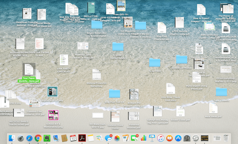 Disorganized computer desktop screen with files and folder clutter.