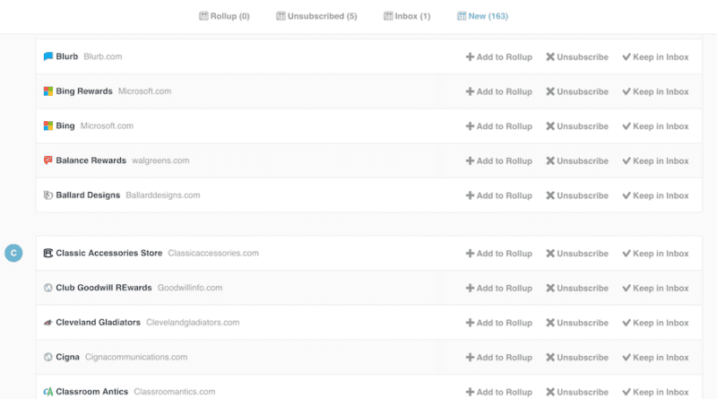 Screenshot of Unroll.Me email organization service.