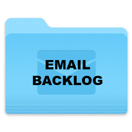 "computer folder icon labeled ""Email Backlog""."