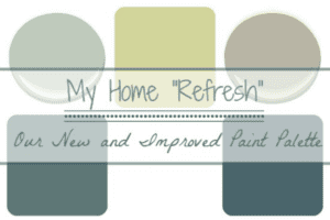 "collage of paint colors with text overlay ""My Home Refresh New and Improved Paint Colors""."