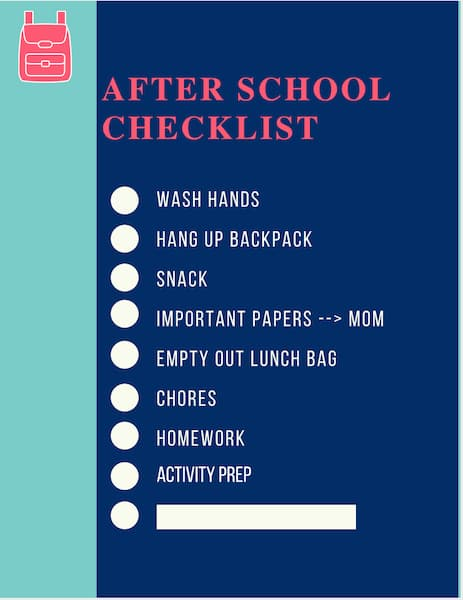 printable after school routine checklist.