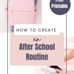 "collage of school backpack images - text overlay ""How to create an after school routine""."