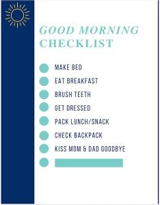 morning routine checklist printable for kids.