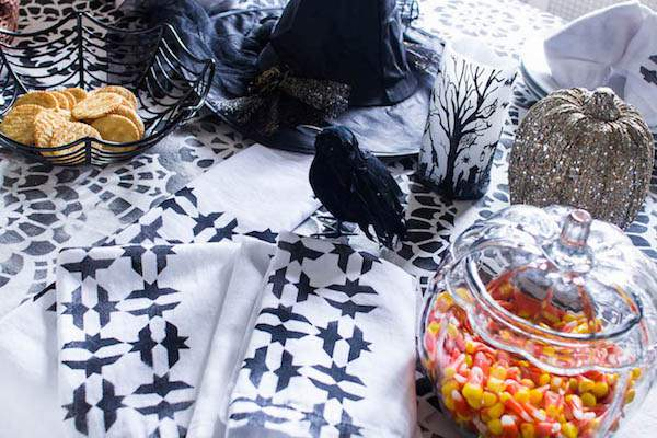 These stenciled tablescape just one of 20 DIY Halloween Decor Ideas guaranteed to inspire you
