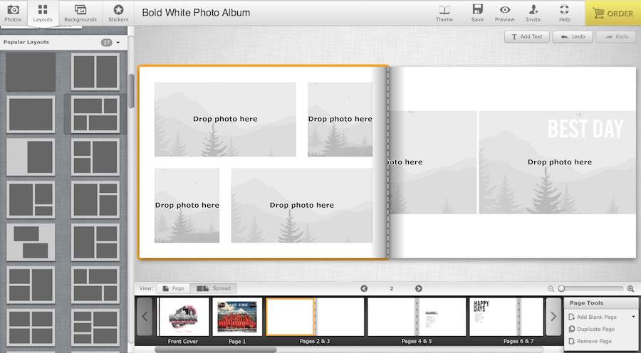 Curious how to make a digital photo book? Select a basic page layout to start