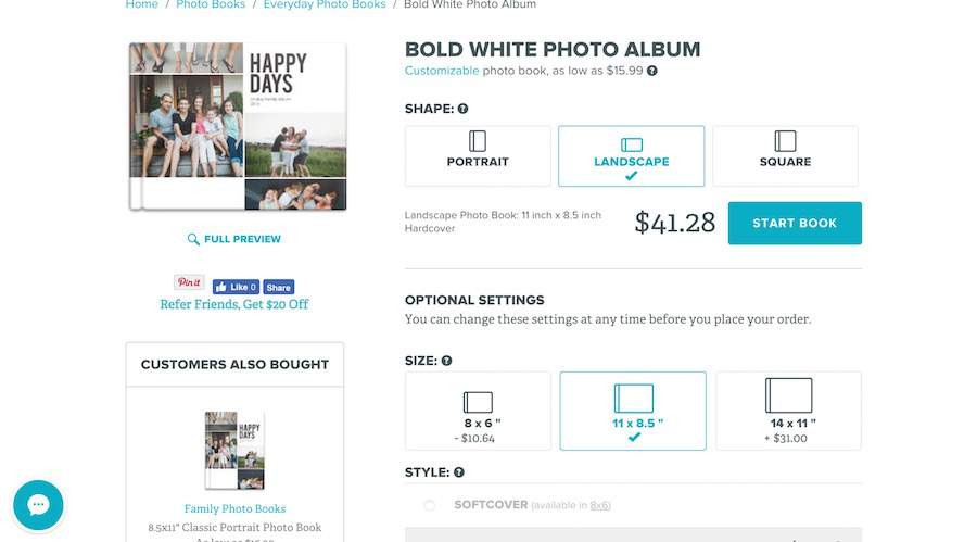 Curious how to make a digital photo book? Start by selecting an album size and layout theme