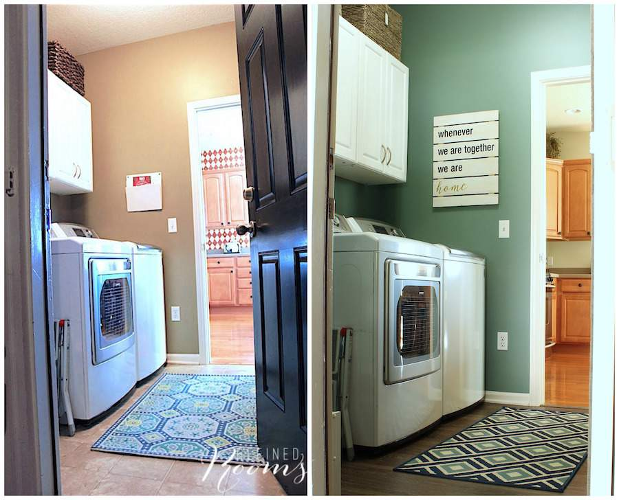 So excited to share this laundry room makeover reveal! Come see how new flooring, lighting, storage and simple wall decor completely transformed this space. Visit the blog to see all the Before and After photos!