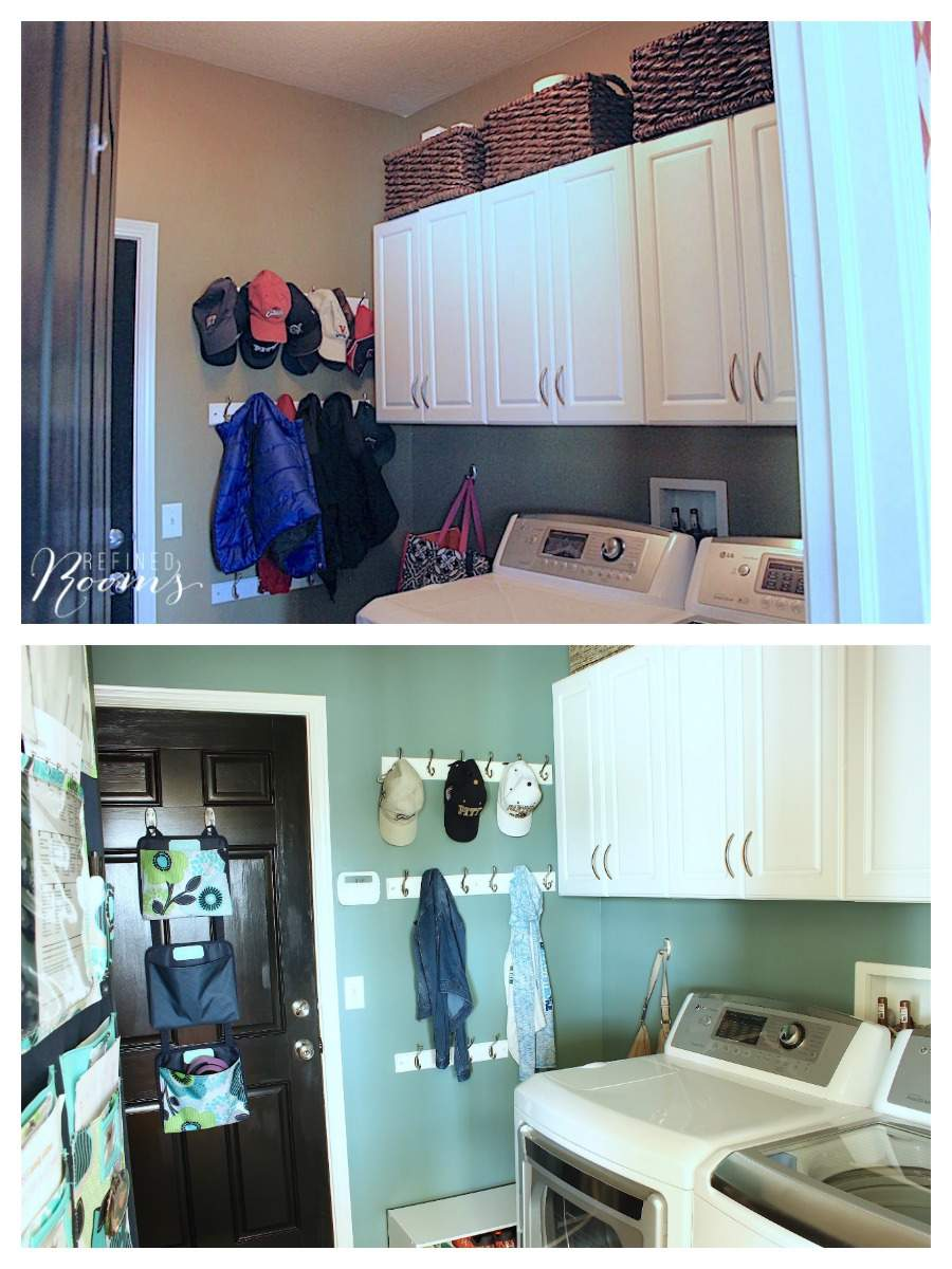 So excited to share this laundry room makeover reveal! Come see how new flooring, lighting, storage and simple wall decor completely transformed this space. Visit the blog to view the transformation!