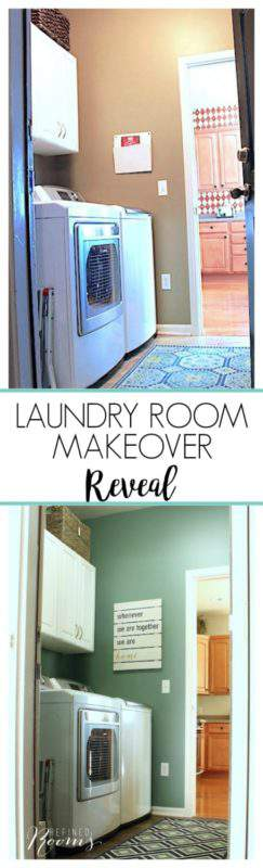 So excited to share my laundry room makeover reveal! Come see how new flooring, lighting, storage and simple wall decor completely transformed this space. You won't believe the transformation!