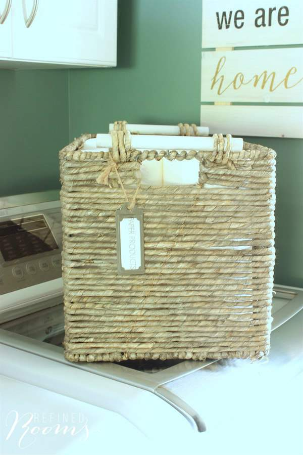 So excited to share my laundry room makeover reveal! One of my favorite additions are these gorgeous storage baskets that we use to store paper products