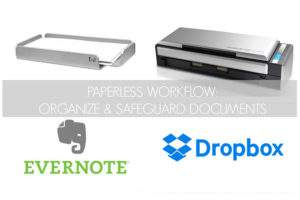 "Scanner and paper tray with text overlay ""Paperless Workflow"" and Evernote and Dropbox logos"