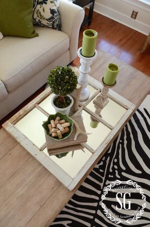 Repurpose a mirror as a decorative tray