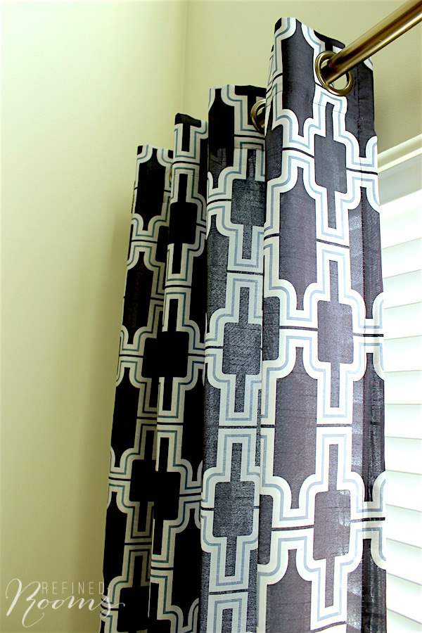New modern geometric print curtain panels - part of our great room makeover