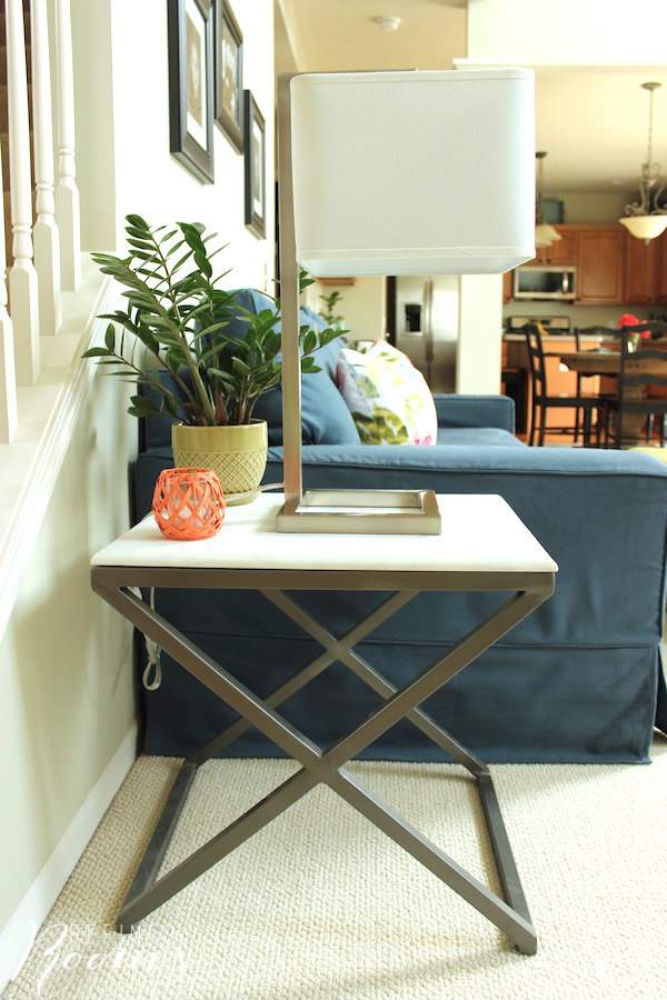 Our new marble top end table - part of our great room makeover