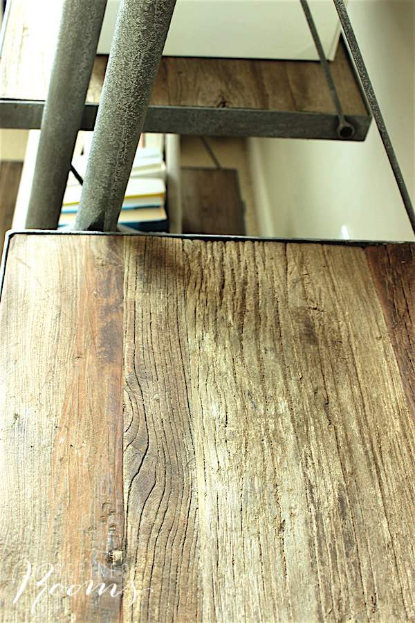 great room makeover - gorgeous reclaimed wood leaner shelves