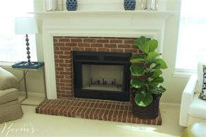 great room makeover - brick fireplace surround
