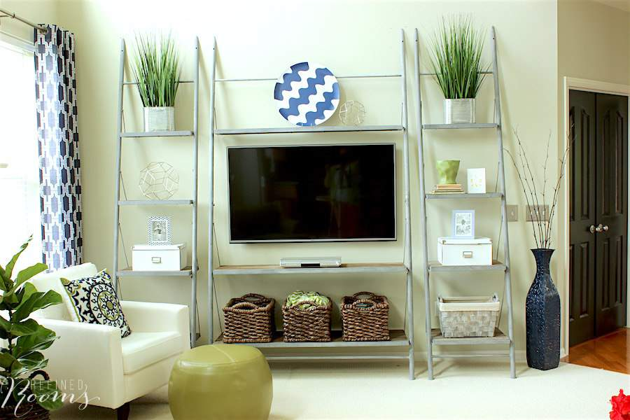 My favorite part of our great room makeover is our new modern industrial shelving
