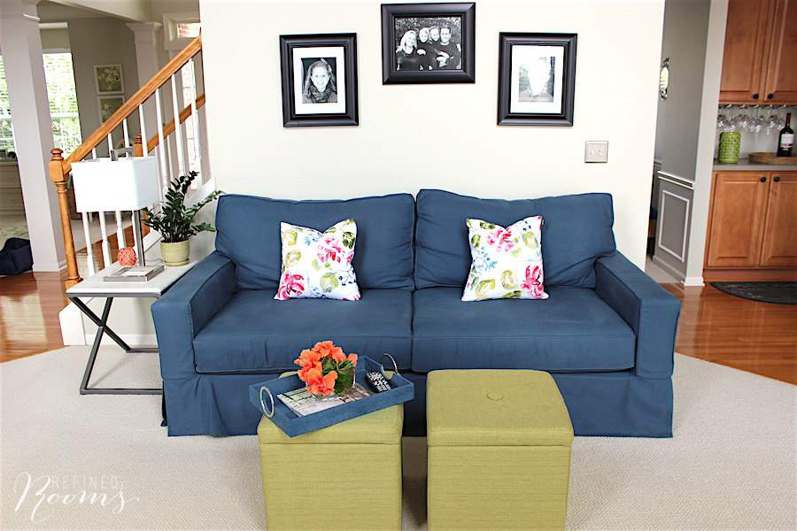 We purchased the PB comfort square arm slipcovered sofa as part of our great room makeover