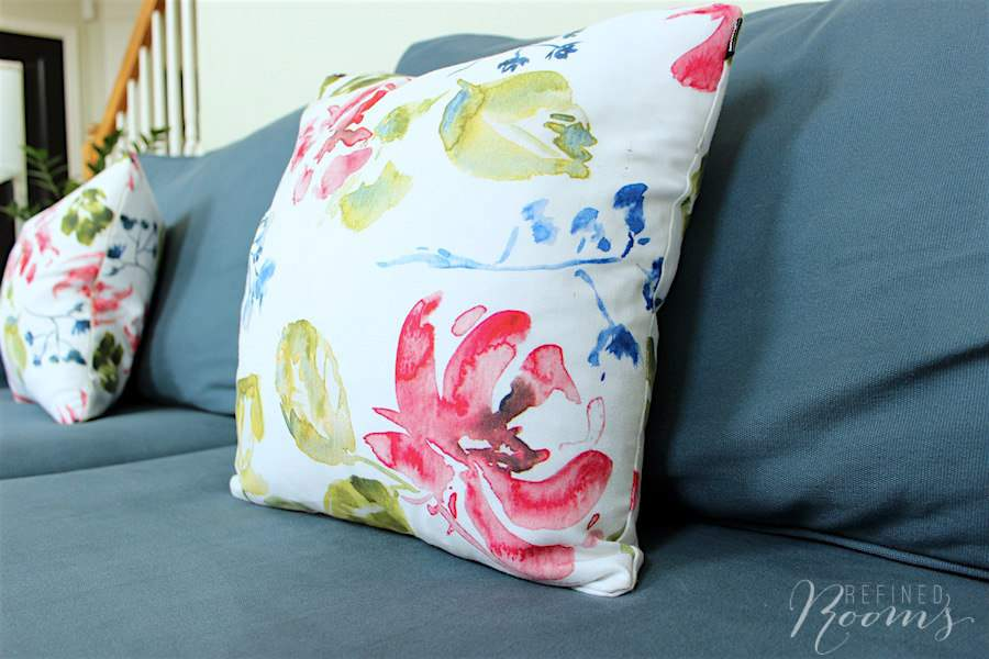 These pillows provide the perfect dose of summery pop in our great room makeover