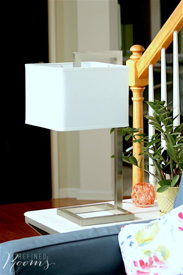 New side table and contemporary lamp in our great room makeover