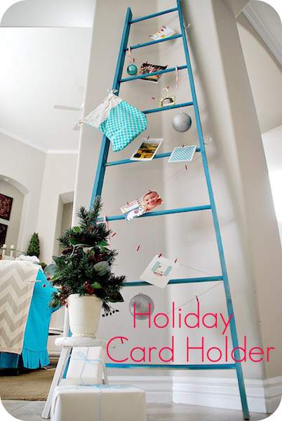 Check out this cool round up of holiday card display ideas (including this holiday ladder) at Refined Rooms!