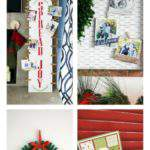collage of DIY holiday card display ideas.
