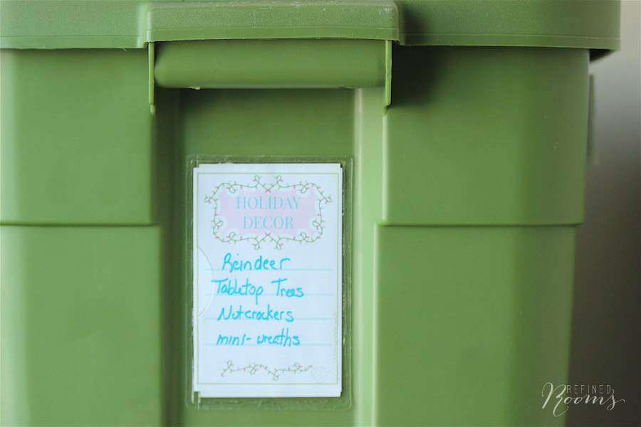 Learn tips & tricks for holiday decor organization and download a free set of printable storage labels at Refined Rooms