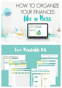 "computer desktop with financial spreadsheet opened. Text overlay ""How to Organize Your Finances Like a Boss: Free Printable Set"""