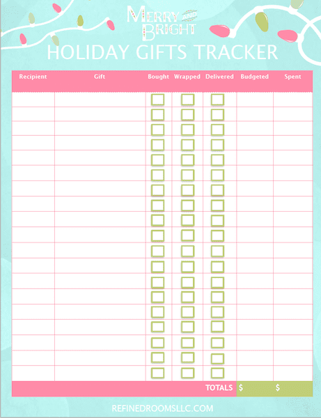 screenshot of printable Holiday Gifts Tracker.