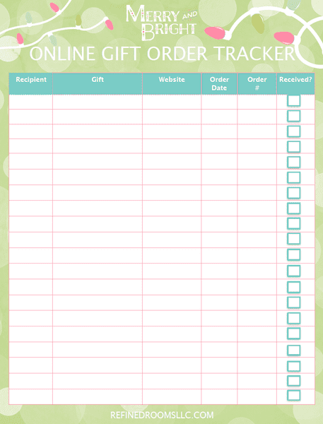 organize your holiday shopping and gift-giving with this free printable online gift order tracker from Refined Rooms