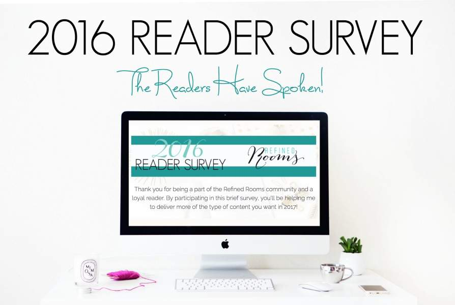 The readers have spoken! With the 2016 Refined Rooms Reader Survey results in hand, I'm excited to unveil how I plan to give you what you want in 2017!