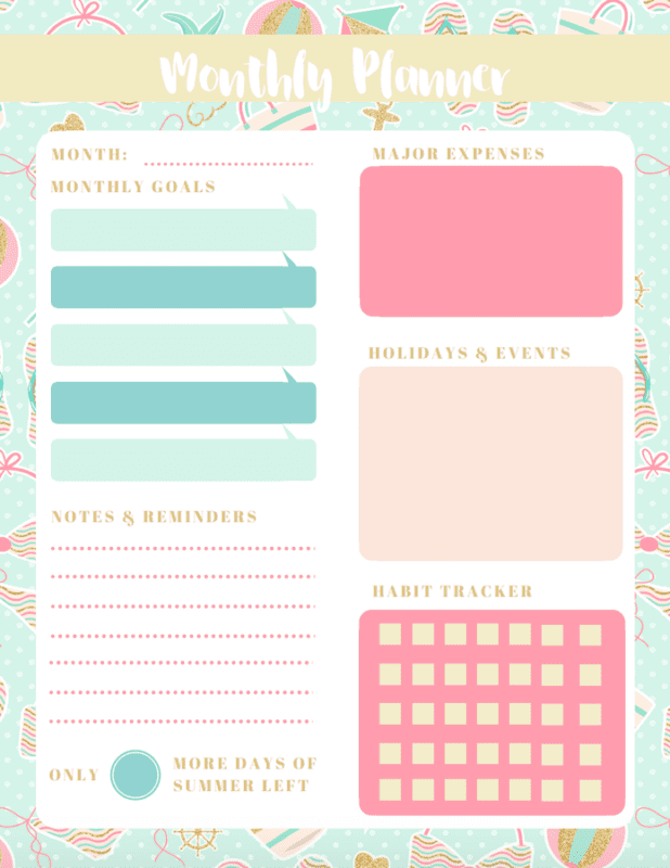 Struggling to stay productive this summer? Download these free summer-themed printable monthly planners to help you stay on track (beach version)