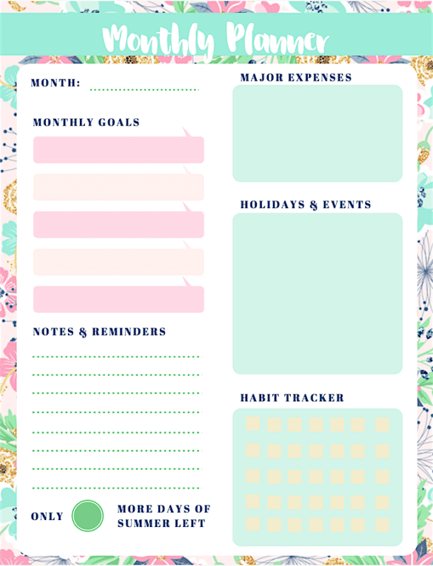 Struggle with staying productive during the summer months? Download these free summer-themed printable monthly planners to help you stay on track (floral version)