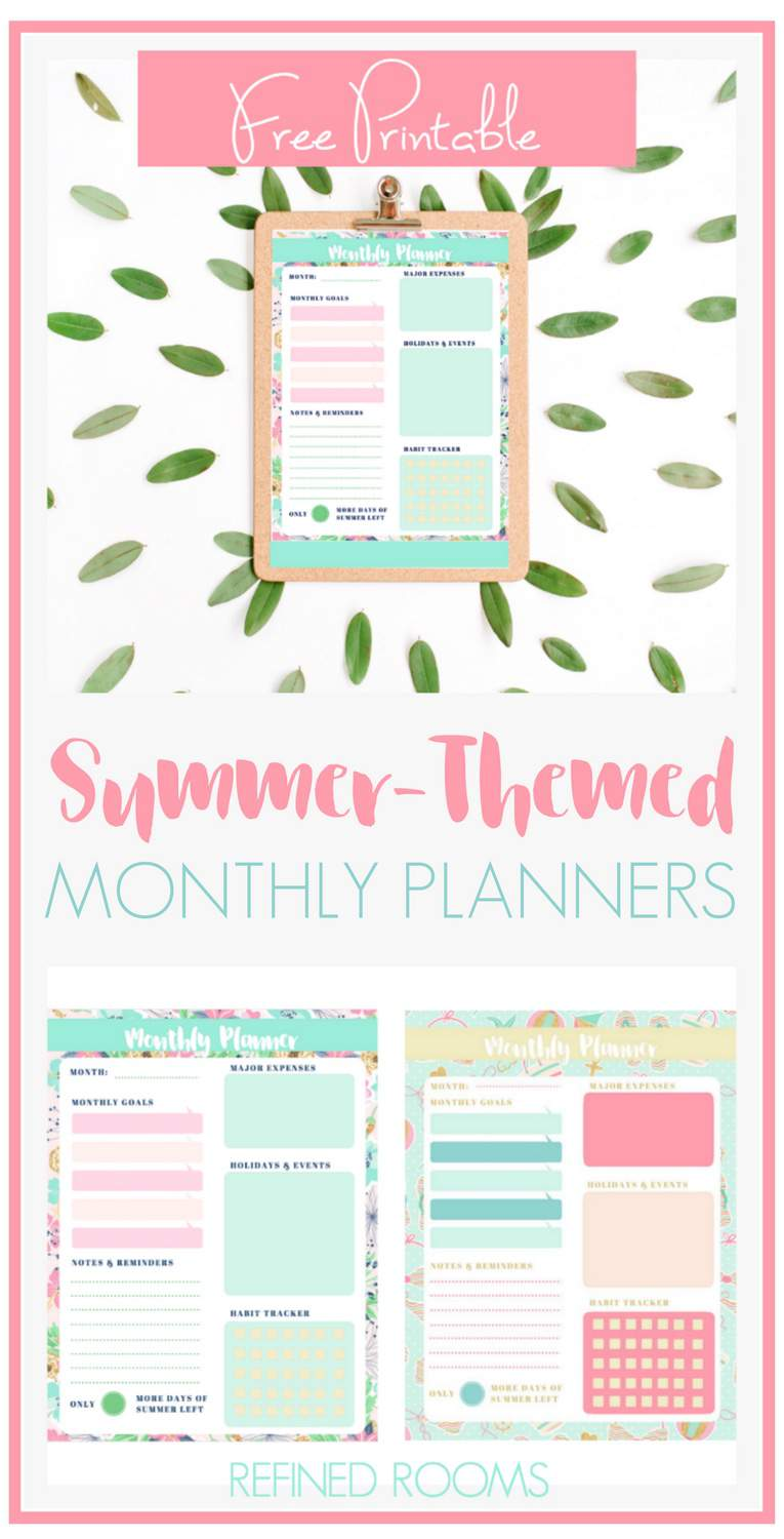 Having trouble staying productive this summer? Grab these summer-themed printable monthly planners!