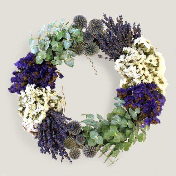 Check out this gorgeous collection of unique fall wreaths...including this live lavender wreath