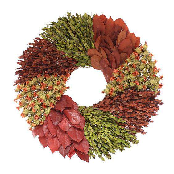 Check out this gorgeous collection of unique fall wreaths...including this colorful one