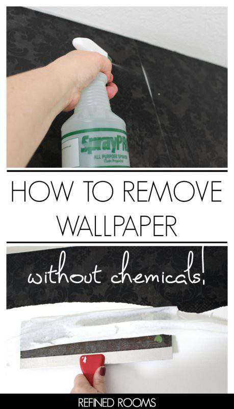Got wallpaper? Learn how to remove wallpaper WITHOUT any dangerous chemicals and smelly DIY methods. You'll be shocked to learn how simple this method is! | #homeimprovement #wallpaperremoval #wallpaper