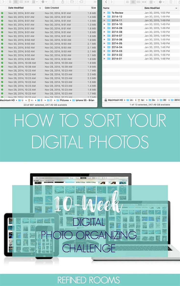 Follow along in the 10-week Digital Photo Organizing Challenge! In week 5, we'll be sorting digital photos into a core file structure | #digitalphotos #photoorganizing