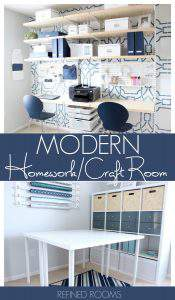 It's One Room Challenge REVEAL Time! Can't wait to take you on a tour of our modern homework/craft room reveal! | #HomeworkRoom #CraftRoom #ElfaStorage #OneRoomChallenge