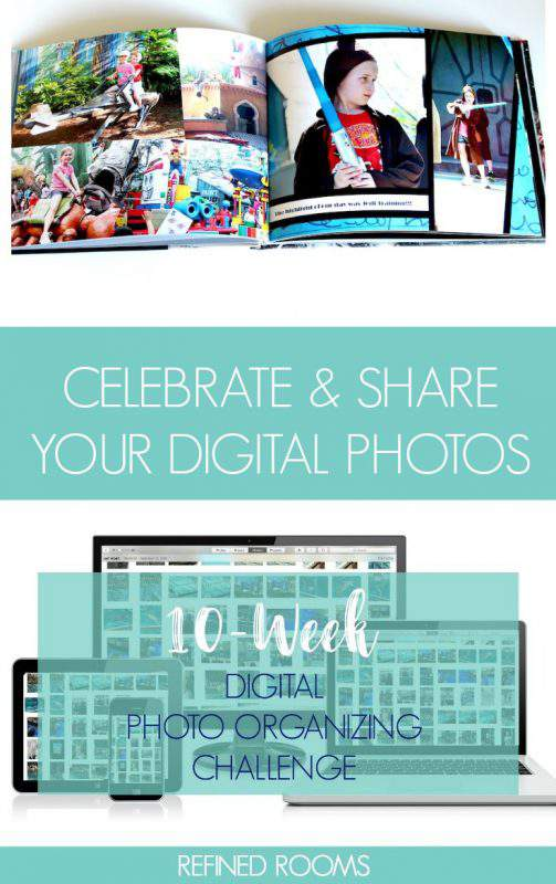 Follow along in the 10-week Digital Photo Organizing Challenge! In week 10, we're celebrating & sharing digital photos! | #photoorganizing #digitalphotos
