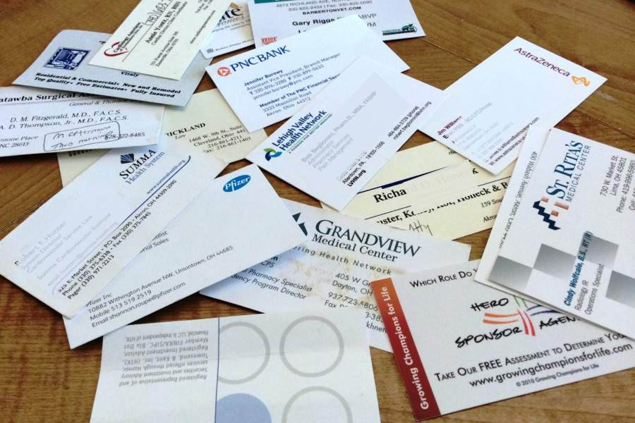 "Business cards...just one of the 10 ""no brainer"" types of paper to toss during your paper decluttering session 