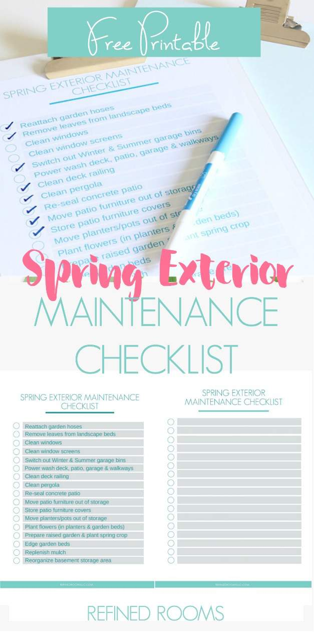 This free printable Spring Exterior Maintenance Checklist will help you plan out and keep track of all the tasks you need to do to prepare your home's exterior for the warm weather! Choose the completed version or the blank editable version to customize for yourself! #freeprintable #homemaintenance #homemaintenancechecklist #exteriormaintenance #springmaintenance #RefinedRooms